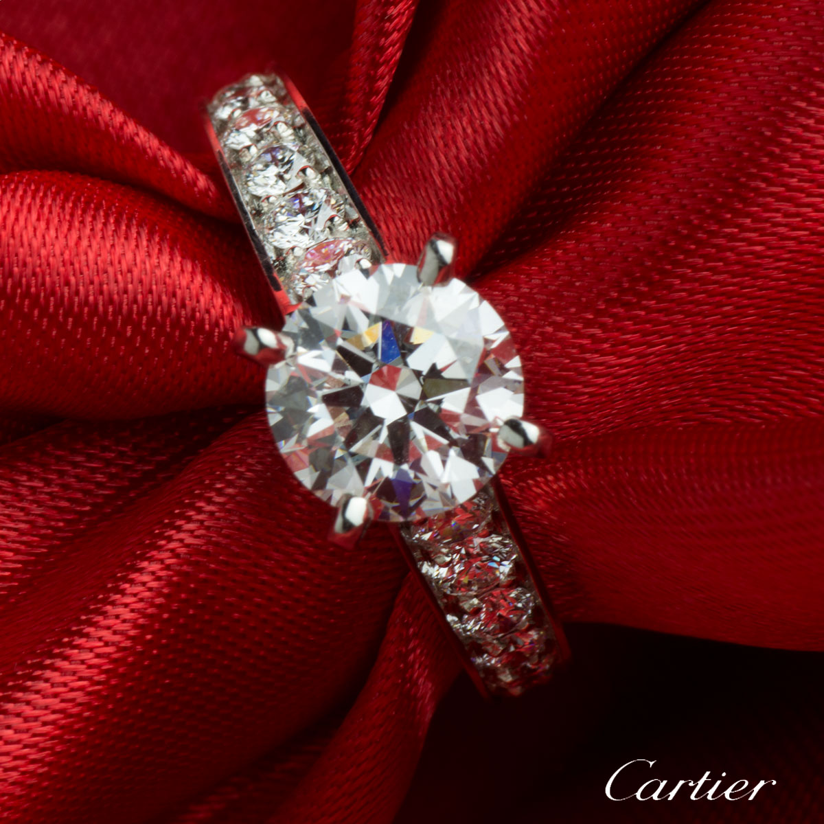 Cartier Diamond Platinum Ring 1.52ct G/VVS2 N4164654